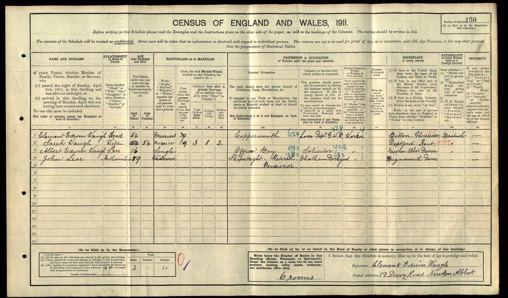 1911 Census with my grandfather, Albert, his parents, Clement and Sarah and his Grandfather, John Lear.